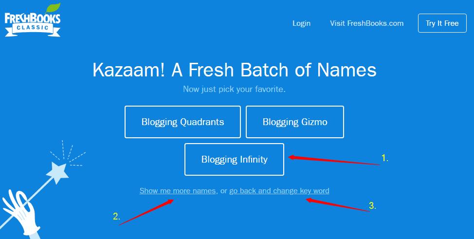 FreshBooks free business name generator tool