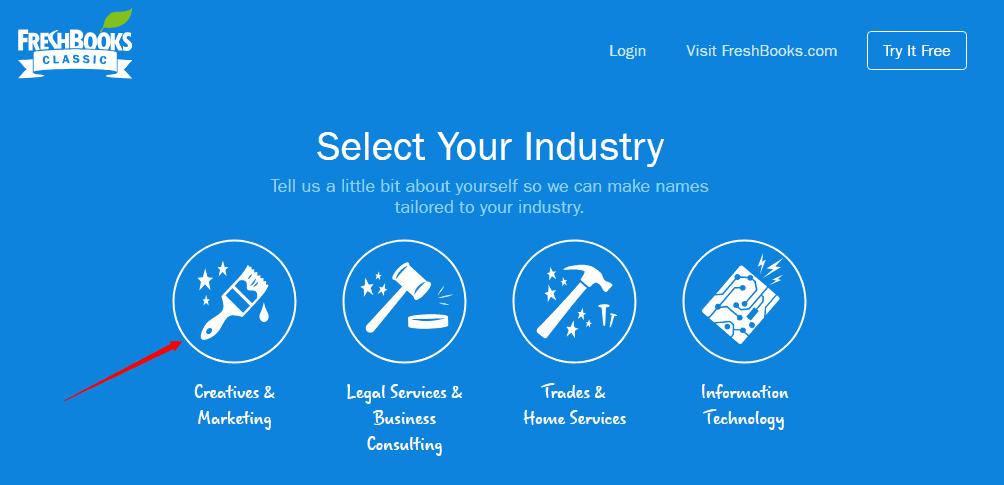 FreshBooks business name generator tool